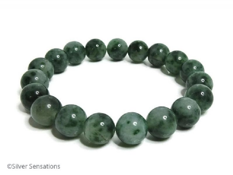 Chunky Green Spot Jade Beaded Stretch Fashion Bracelet